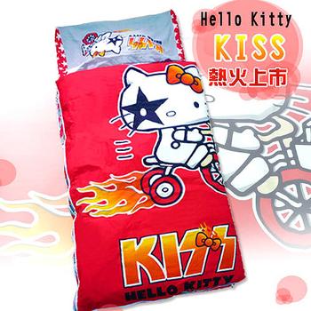 《HELLO KITTY》凱蒂貓KISS熱火舖棉冬夏二用兒童睡袋-奔馳腳踏車篇(4*5尺)(A)
