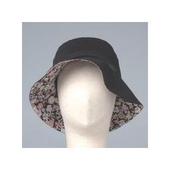 頭部保護帽 (小碎花遮陽款,黑色、卡其色)(黑色)
