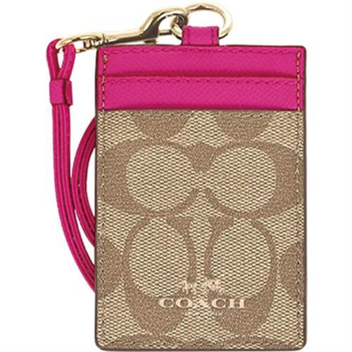 COACH 馬車LOGO掛式證件卡夾 淺粉紅