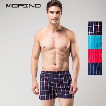 《MORINO摩力諾》耐用織帶格紋平口褲 丈青格紋(L)