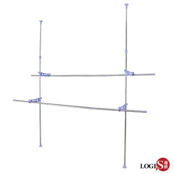 《LOGIS》雙桿頂力式衣架不鏽鋼衣架 曬被架 晾衣曬衣架 高3.1米(LOGIS-雙桿頂力式衣架不鏽鋼衣架 曬被架 晾衣曬衣架 高)