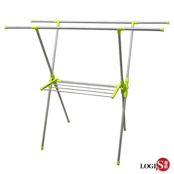 《LOGIS》日系X型雙桿不鏽鋼伸縮曬衣架吊衣架 吊衣桿 晾衣架