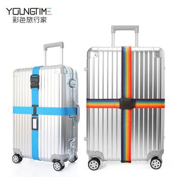 彩色旅行家 行李箱用密碼鎖十字束帶 旅行箱打包帶 出國旅遊必備(彩虹色)