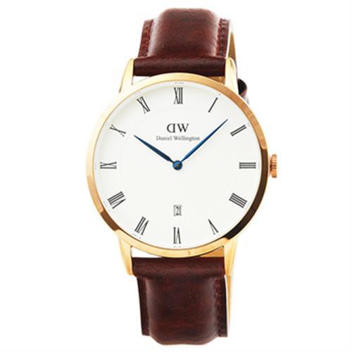 DW 皮革腕錶(0507DW -38mm金框咖啡色錶)