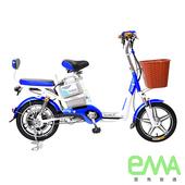 《EMA雲馬》電動 48鉛酸 LED 輕便 後雙避震 腳踏助力 (電動輔助自行車)(白藍)