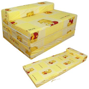 快樂小熊 坐高40公分床長200公分-四折式沙發床/沙發椅(黃色)