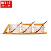 《香港RELEA物生物》耐熱玻璃調味罐3件套裝組含竹蓋、木勺、竹木底盤(3套組)