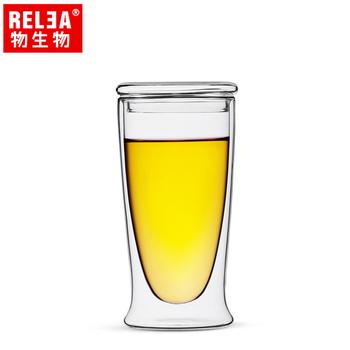 香港RELEA物生物 耐熱雙層含蓋玻璃杯(380ml)