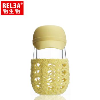香港RELEA物生物 260ml帽子造型雙層玻璃隔熱杯(棒球帽-黃)