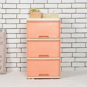 SONA PLUS 晴日三層收納置物櫃(30公升3層櫃)(橘色)