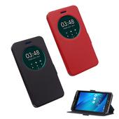 《YANG YI 揚邑》ASUS ZenFone Selfie ZD551KL 5.5吋 星光紋開窗側立防滑智能休眠磁扣皮套(紅色)