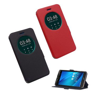 《YANG YI 揚邑》ASUS ZenFone Selfie ZD551KL 5.5吋 星光紋開窗側立防滑智能休眠磁扣皮套(黑色)