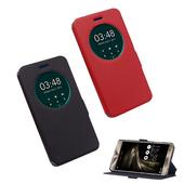 《YANG YI 揚邑》ASUS ZenFone 3 Deluxe ZS570KL 5.7吋 星光紋開窗側立防滑智能休眠磁扣皮套(紅色)