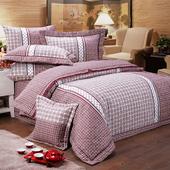 《FITNESS》精梳棉加大四件式被套床包組- 艾斯琴曲(紅)(6*6.2尺)