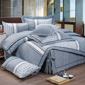 《FITNESS》精梳棉加大四件式被套床包組- 艾斯琴曲(藍)(6*6.2尺)