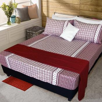 《FITNESS》精梳純棉加大床包+枕套三件組- 艾斯琴曲(紅)(6*6.5尺)