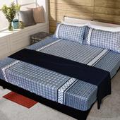 《FITNESS》精梳純棉加大床包+枕套三件組- 艾斯琴曲(藍)(6*6.2尺)