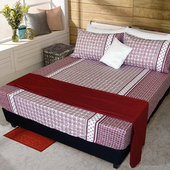 《FITNESS》精梳純棉單人床包+枕套二件組- 艾斯琴曲(紅)(3.5*6.2尺)