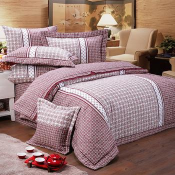 ★結帳現折★FITNESS 精梳純棉雙人七件式床罩組- 艾斯琴曲(紅)(5x6.2尺)