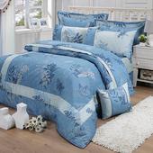 《FITNESS》精梳棉雙人四件式被套床包組- 夏之葉語(藍)(5x6.2尺)