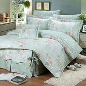 《FITNESS》精梳純棉加大床包+枕套三件組- 奧娜花園(綠)(6x6.2尺)