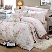 《FITNESS》精梳純棉雙人床包+枕套三件組- 奧娜花園(粉)(5x6.2尺)