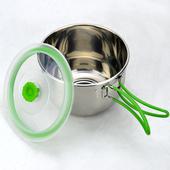 《Bunny》304不銹鋼可摺疊手柄泡麵鍋便當碗(1.4L)(單一)