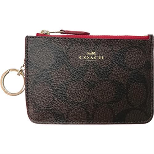 COACH 零錢包/鑰匙包(咖啡紅F63923)