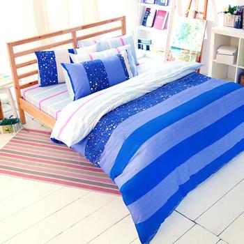 【FOCA-藍色愛情海】加大-100%精梳純棉四件式兩用被床包組
