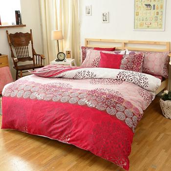 【FOCA-煙花絮夜】單人-100%精梳純棉四件式兩用被床包組