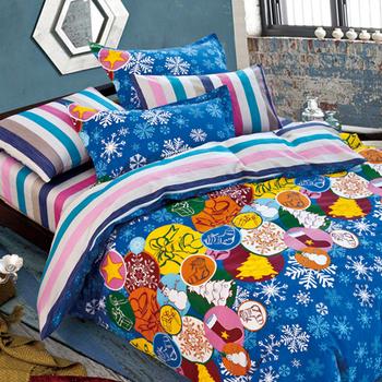 ★結帳現折★ 【FOCA-叮噹時節】加大-100%精梳純棉四件式兩用被床包組