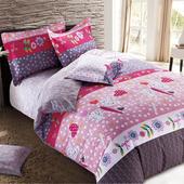 【FOCA-花開曲調】特大-100%精梳純棉四件式兩用被床包組