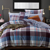 【FOCA-往事隨風】特大-100%精梳純棉四件式兩用被床包組