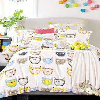 【FOCA-淘氣精靈】特大-100%精梳純棉四件式兩用被床包組
