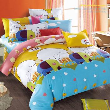 【FOCA-童心象園】加大-100%精梳純棉四件式兩用被床包組