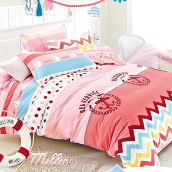 【FOCA-綻漾青春】加大-100%精梳純棉四件式兩用被床包組
