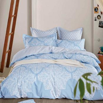 【Betrise】特大-環保印染德國防螨抗菌精梳棉四件式兩用被床包組-清風徐來