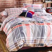 【FOCA-米蘭生活】特大-100%精梳純棉四件式兩用被床包組