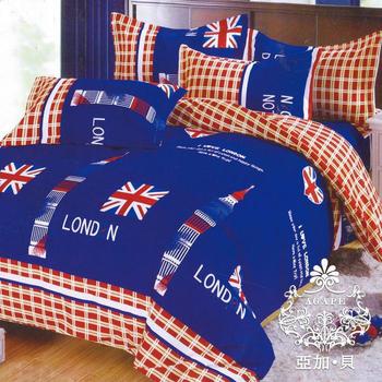 AGAPE亞加‧貝 《MIT台灣製-倫敦格調》舒柔棉標準雙人四件式薄被套床包組 百貨專櫃精品(5x6.2尺)