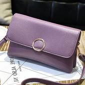 《L.Elegant》韓版時尚信封雙層手拿肩背斜跨包 (共二色)(紫藕色)