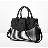 《L. Elegant》歐美線條風格手提肩背斜跨包 (共二色)(黑色)
