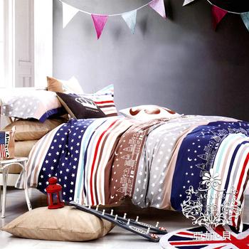 AGAPE亞加‧貝 《獨家私花-星星日記》精梳純棉標準雙人5x6.2尺四件式涼被床包組(加高35公分)