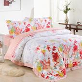 【Betrise 花意醉人】加大-頂級300支紗100%天絲TENCEL四件式兩用被床包組
