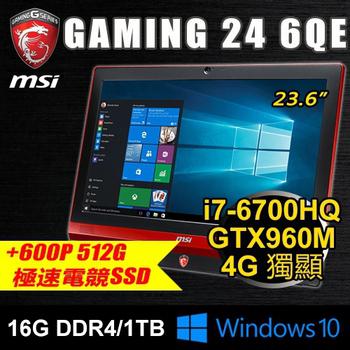微星 MSI 微星 Gaming 24 6QE-760P5 23.6 電競AIO(i7/16G/512G PCIE+1T/GTX960M)