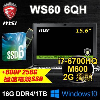 微星 MSI 微星 WS60 6QH-600P3 15.6 繪圖筆電(i7/16G/256G PCIE SSD+1T/M600)