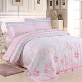 【Betrise淡淡花香】特大-頂級300支紗100%天絲TENCEL四件式兩用被床包組