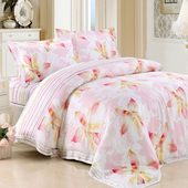 【Betrise絮藍柔妃】加大-頂級300支紗100%天絲TENCEL四件式兩用被床包組