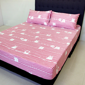 《FITNESS》精梳純棉單人床包+枕套二件組- 萌玩樂園(粉)(3.5*6.2尺)