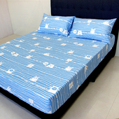 《FITNESS》精梳純棉單人床包+枕套二件組- 萌玩樂園(藍)(3.5*6.2尺)