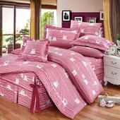 精梳純棉加大七件式床罩組- 萌玩樂園(粉)